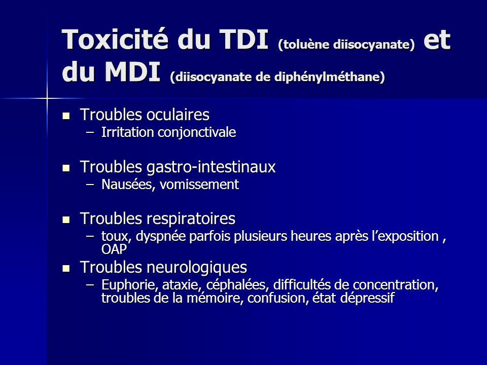 Toxicité du TDI (toluène diisocyanate) et du MDI (diisocyanate de diphénylméthane) Troubles oculaires Troubles oculaires –Irritation conjonctivale Tro