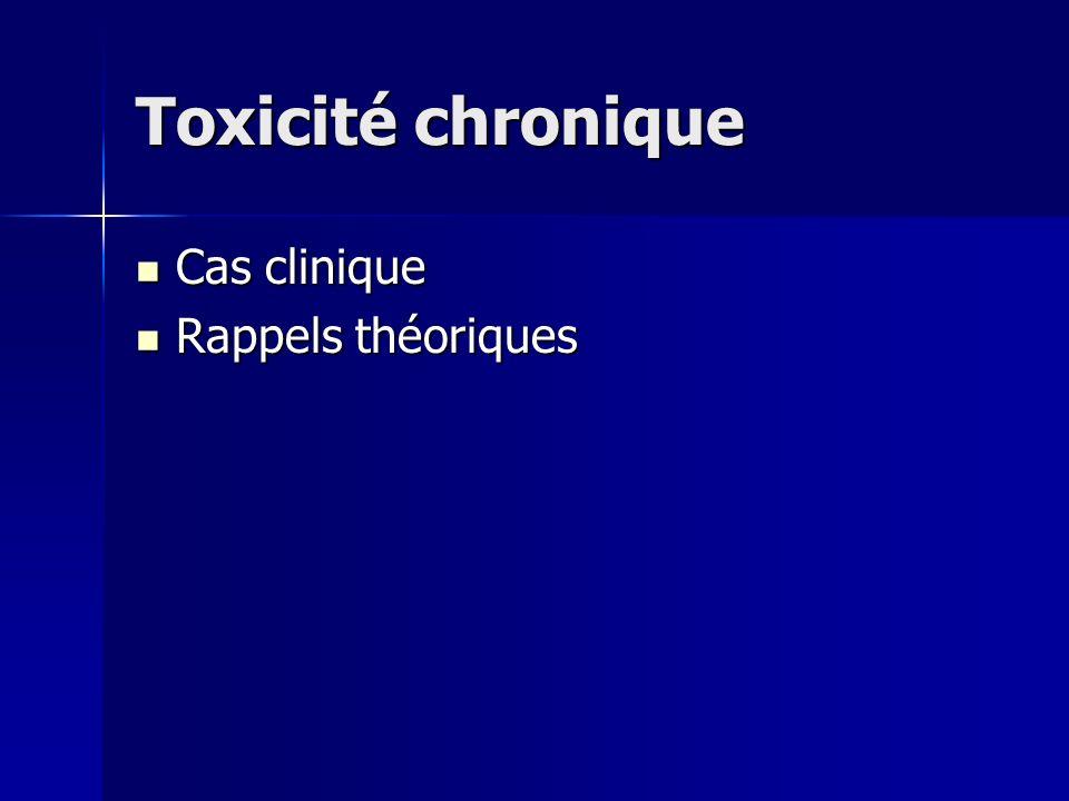 Toxicité chronique Cas clinique Cas clinique Rappels théoriques Rappels théoriques