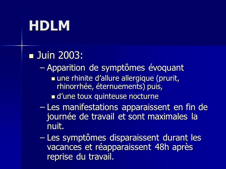 HDLM Juin 2003: Juin 2003: –Apparition de symptômes évoquant une rhinite dallure allergique (prurit, rhinorrhée, éternuements) puis, une rhinite dallu