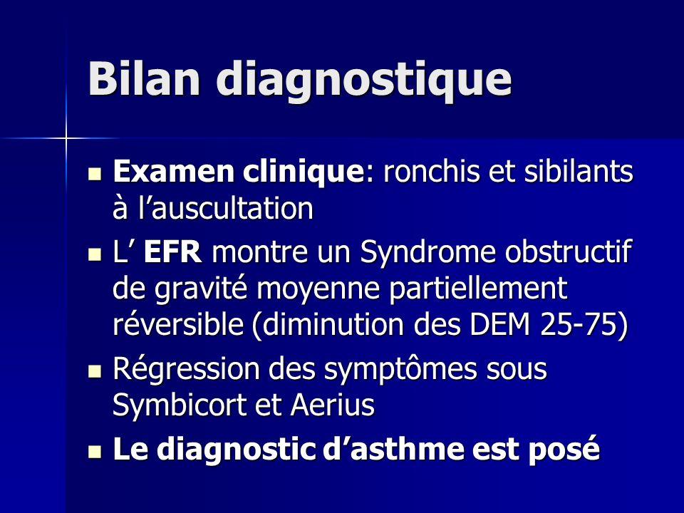 Bilan diagnostique Examen clinique: ronchis et sibilants à lauscultation Examen clinique: ronchis et sibilants à lauscultation L EFR montre un Syndrom