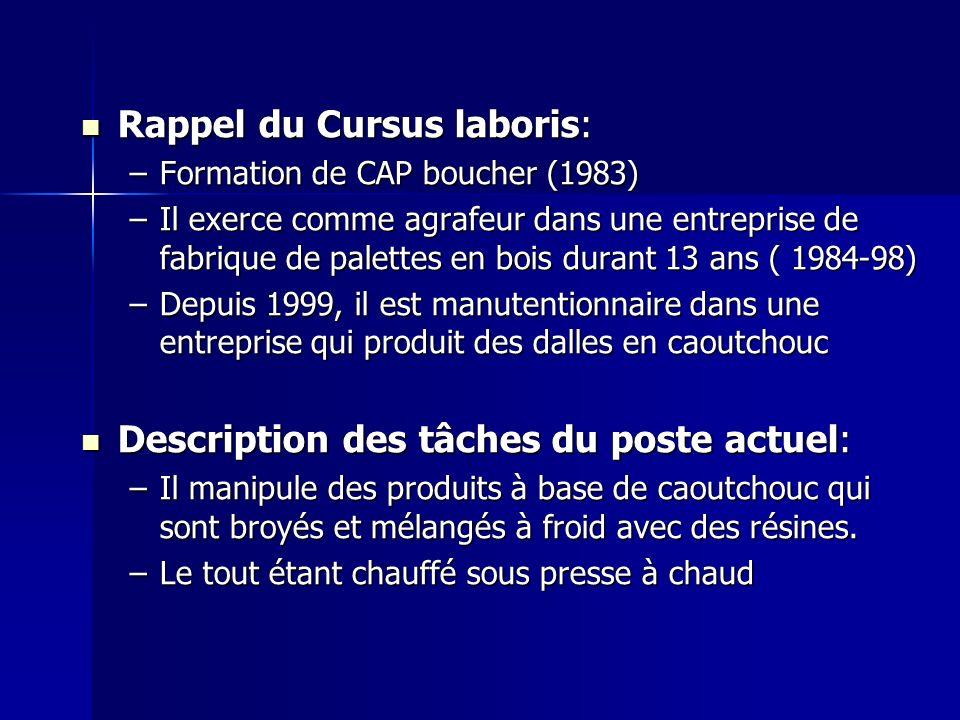 Rappel du Cursus laboris: Rappel du Cursus laboris: –Formation de CAP boucher (1983) –Il exerce comme agrafeur dans une entreprise de fabrique de pale