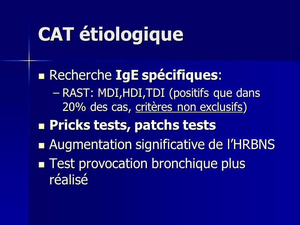 CAT étiologique Recherche IgE spécifiques: Recherche IgE spécifiques: –RAST: MDI,HDI,TDI (positifs que dans 20% des cas, critères non exclusifs) Prick