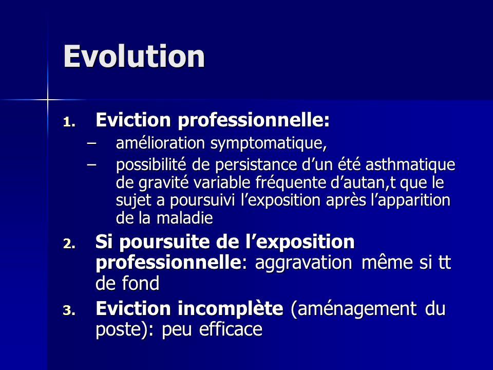 Evolution 1. Eviction professionnelle: –amélioration symptomatique, –possibilité de persistance dun été asthmatique de gravité variable fréquente daut