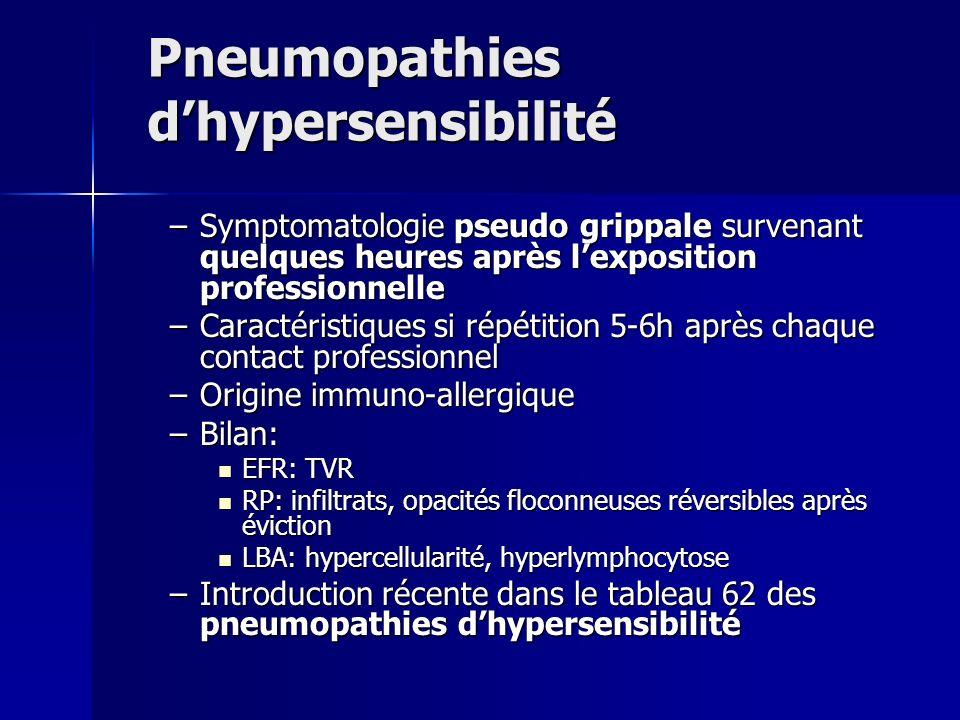 Pneumopathies dhypersensibilité –Symptomatologie pseudo grippale survenant quelques heures après lexposition professionnelle –Caractéristiques si répé