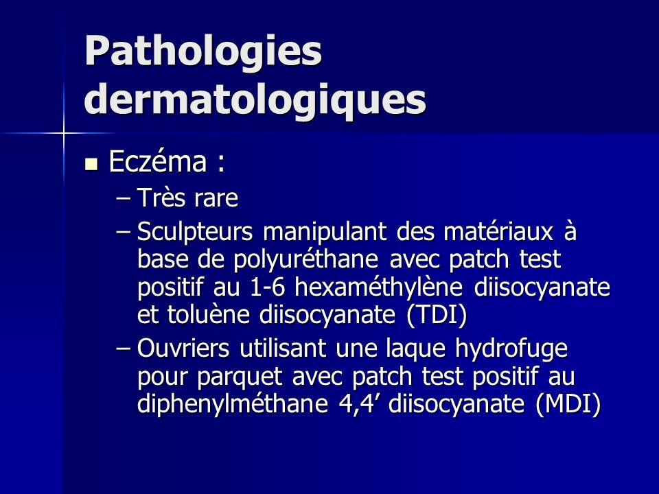 Pathologies dermatologiques Eczéma : Eczéma : –Très rare –Sculpteurs manipulant des matériaux à base de polyuréthane avec patch test positif au 1-6 he