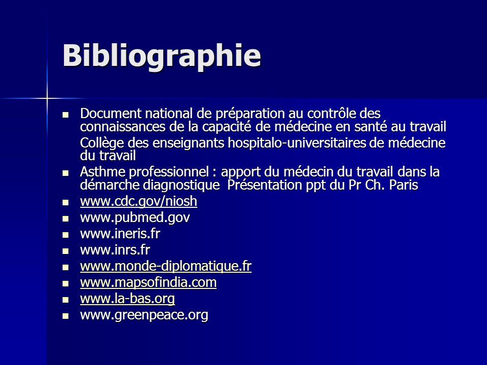 Bibliographie Document national de préparation au contrôle des connaissances de la capacité de médecine en santé au travail Document national de prépa