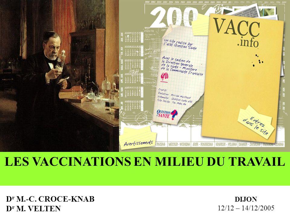 LES VACCINATIONS EN MILIEU DU TRAVAIL D r M.-C. CROCE-KNAB D r M. VELTEN DIJON 12/12 – 14/12/2005