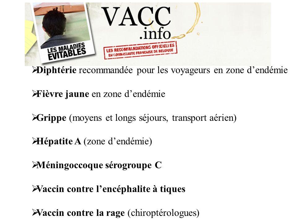 Diphtérie recommandée pour les voyageurs en zone dendémie Fièvre jaune en zone dendémie Grippe (moyens et longs séjours, transport aérien) Hépatite A (zone dendémie) Méningoccoque sérogroupe C Vaccin contre lencéphalite à tiques Vaccin contre la rage (chiroptérologues)