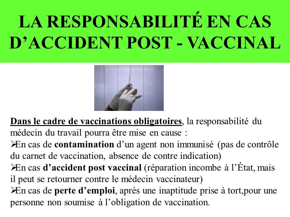 LA RESPONSABILITÉ EN CAS DACCIDENT POST - VACCINAL Dans le cadre de vaccinations obligatoires, la responsabilité du médecin du travail pourra être mise en cause : En cas de contamination dun agent non immunisé (pas de contrôle du carnet de vaccination, absence de contre indication) En cas daccident post vaccinal (réparation incombe à lÉtat, mais il peut se retourner contre le médecin vaccinateur) En cas de perte demploi, après une inaptitude prise à tort,pour une personne non soumise à lobligation de vaccination.