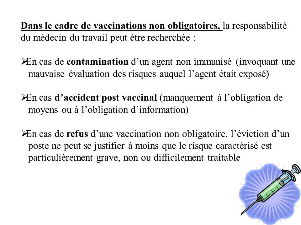 Dans le cadre de vaccinations non obligatoires, la responsabilité du médecin du travail peut être recherchée : En cas de contamination dun agent non immunisé (invoquant une mauvaise évaluation des risques auquel lagent était exposé) En cas daccident post vaccinal (manquement à lobligation de moyens ou à lobligation dinformation) En cas de refus dune vaccination non obligatoire, léviction dun poste ne peut se justifier à moins que le risque caractérisé est particulièrement grave, non ou difficilement traitable