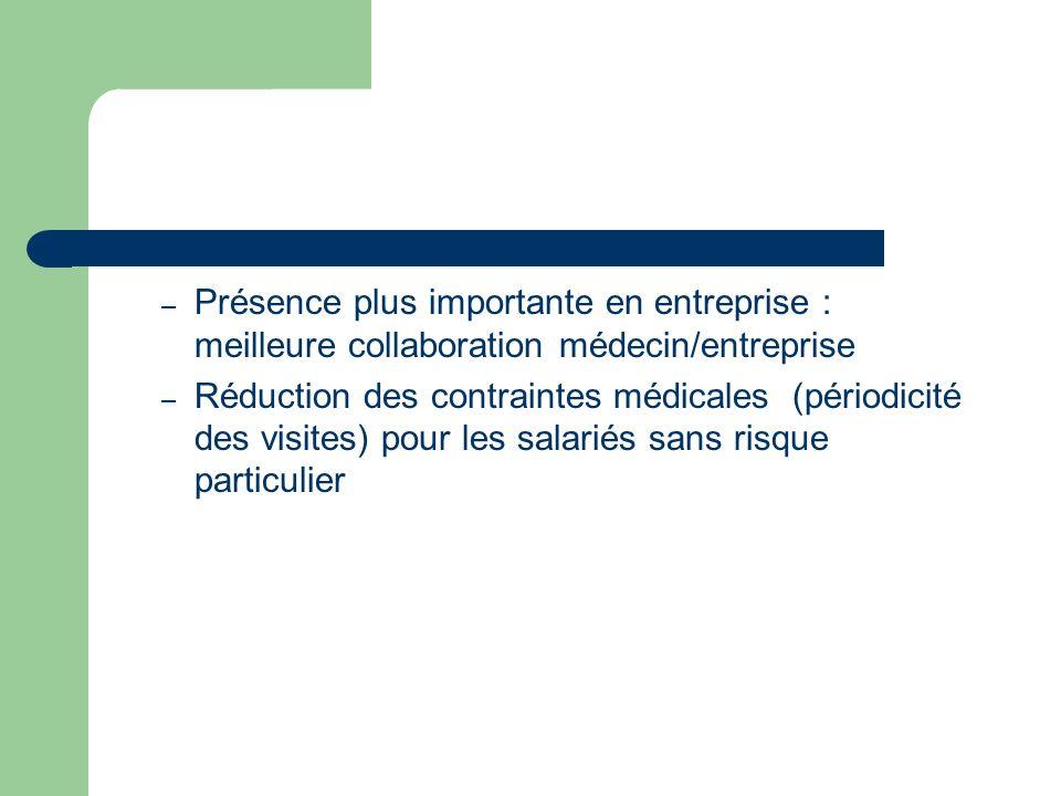 – Présence plus importante en entreprise : meilleure collaboration médecin/entreprise – Réduction des contraintes médicales (périodicité des visites) pour les salariés sans risque particulier