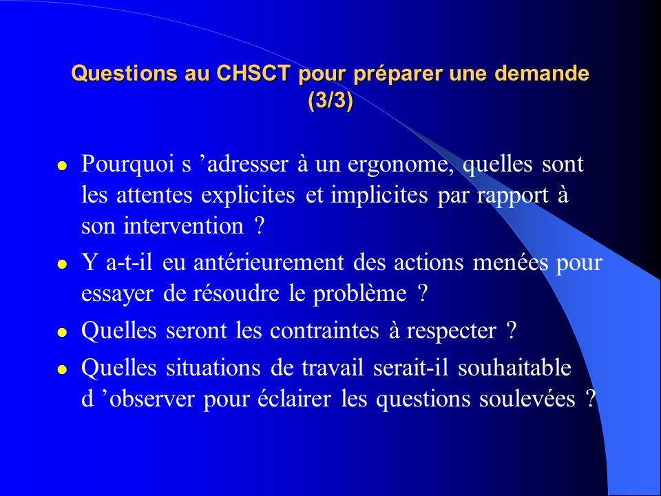 Questions au CHSCT pour préparer une demande (3/3) Pourquoi s adresser à un ergonome, quelles sont les attentes explicites et implicites par rapport à