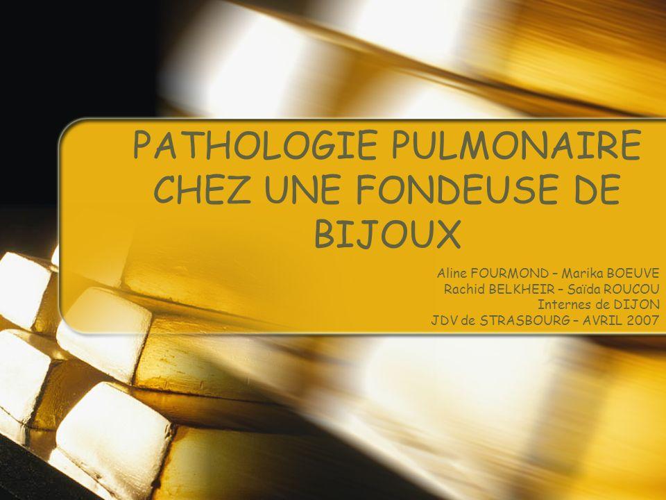 PRESENTATION Mme G., née en 1968 ATCDTs médicaux : Personnels :HTA traitée par ß- bloquants Familiaux : asthme Curriculum laboris : Maroquinerie (1 an) Ménage (1 an) Fabrique de bijoux de 1987 à 1994 Cireuse, fondeuse, polisseuse