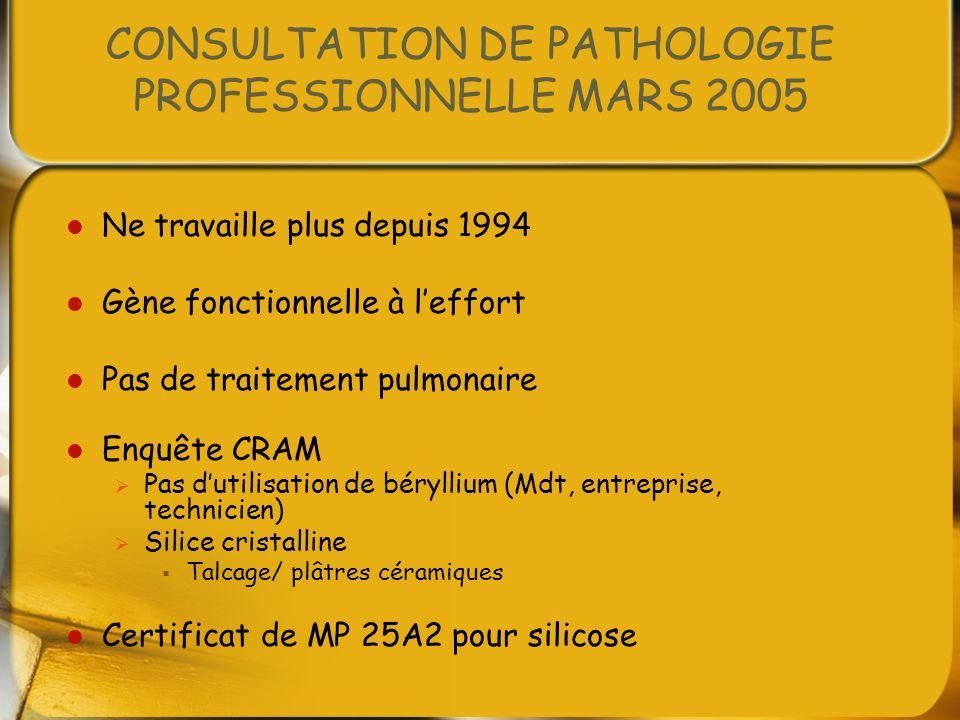 CONSULTATION DE PATHOLOGIE PROFESSIONNELLE MARS 2005 Ne travaille plus depuis 1994 Gène fonctionnelle à leffort Pas de traitement pulmonaire Enquête C