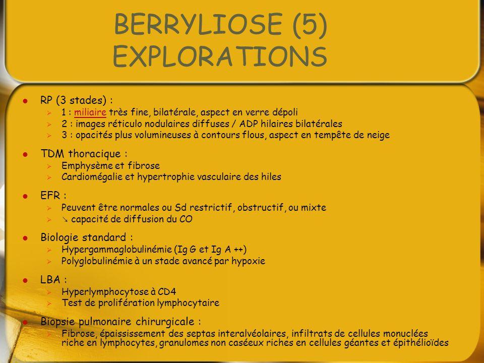 BERRYLIOSE (5) EXPLORATIONS RP (3 stades) : 1 : miliaire très fine, bilatérale, aspect en verre dépolimiliaire 2 : images réticulo nodulaires diffuses