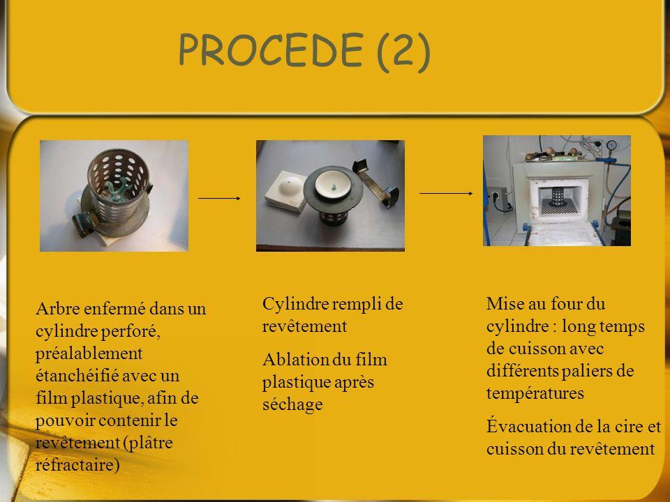 PROCEDE (2) Arbre enfermé dans un cylindre perforé, préalablement étanchéifié avec un film plastique, afin de pouvoir contenir le revêtement (plâtre r