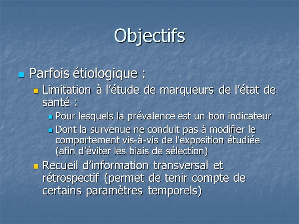 Objectifs Parfois étiologique : Parfois étiologique : Limitation à létude de marqueurs de létat de santé : Limitation à létude de marqueurs de létat d