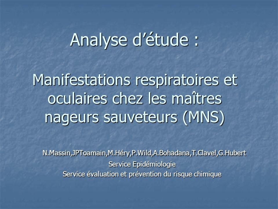 Analyse détude : Manifestations respiratoires et oculaires chez les maîtres nageurs sauveteurs (MNS) N.Massin,JPToamain,M.Héry,P.Wild,A.Bohadana,T.Cla