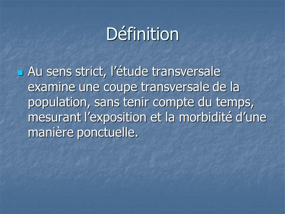 Définition Au sens strict, létude transversale examine une coupe transversale de la population, sans tenir compte du temps, mesurant lexposition et la