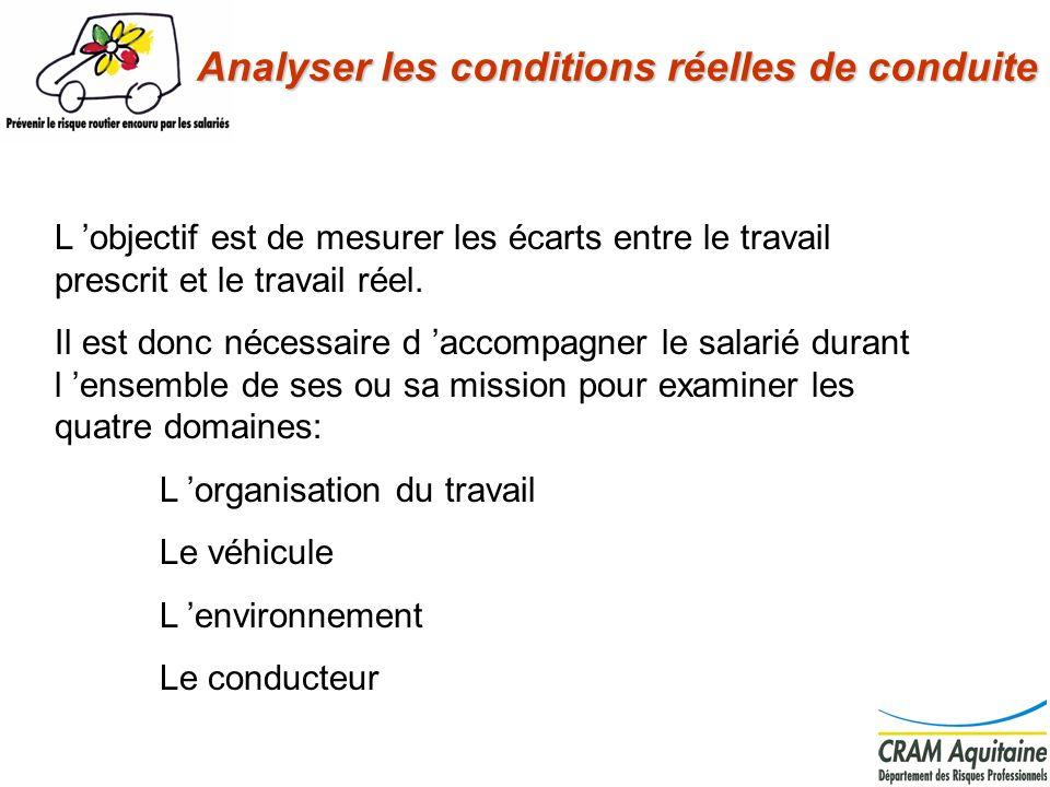 L organisation du travail: La mission est-elle faisable en respectant les règles internes et le code de la route.