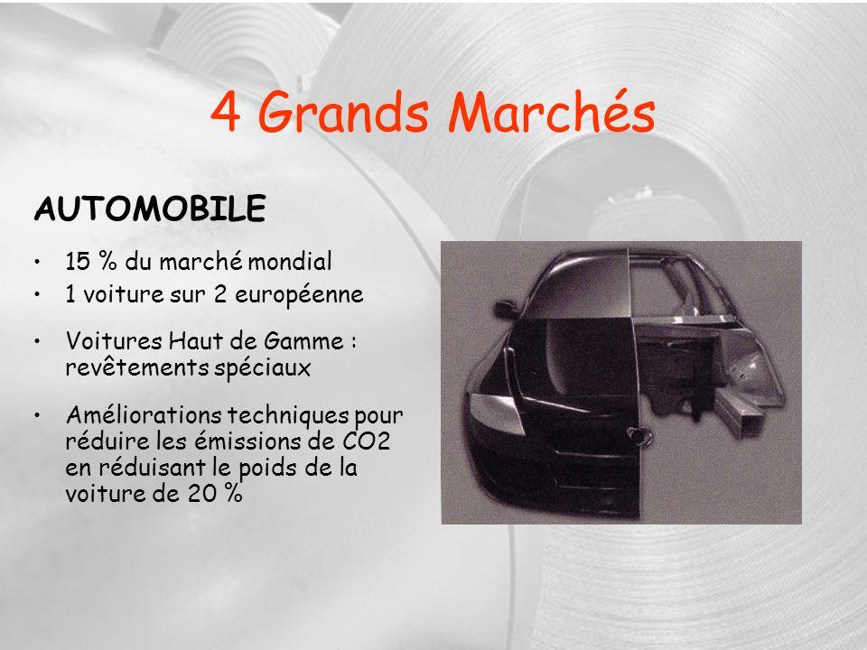 4 Grands Marchés AUTOMOBILE 15 % du marché mondial 1 voiture sur 2 européenne Voitures Haut de Gamme : revêtements spéciaux Améliorations techniques p