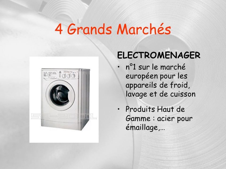 4 Grands Marchés ELECTROMENAGER n°1 sur le marché européen pour les appareils de froid, lavage et de cuisson Produits Haut de Gamme : acier pour émail