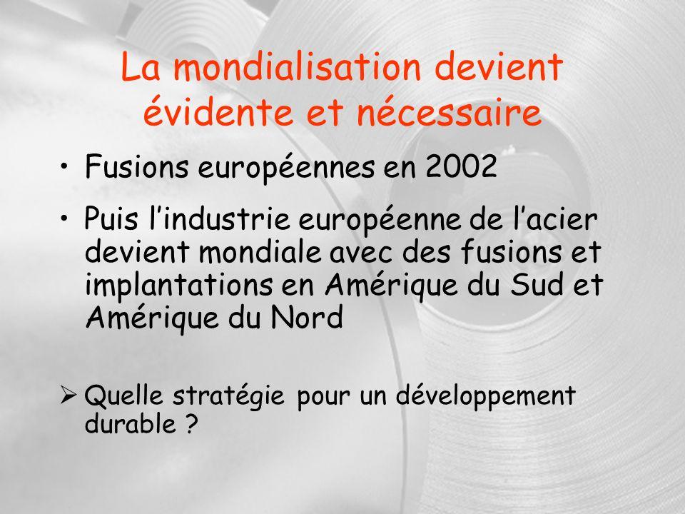 La mondialisation devient évidente et nécessaire Fusions européennes en 2002 Puis lindustrie européenne de lacier devient mondiale avec des fusions et