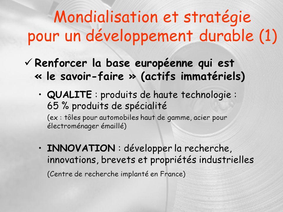 Mondialisation et stratégie pour un développement durable (1) Renforcer la base européenne qui est « le savoir-faire » (actifs immatériels) QUALITE :