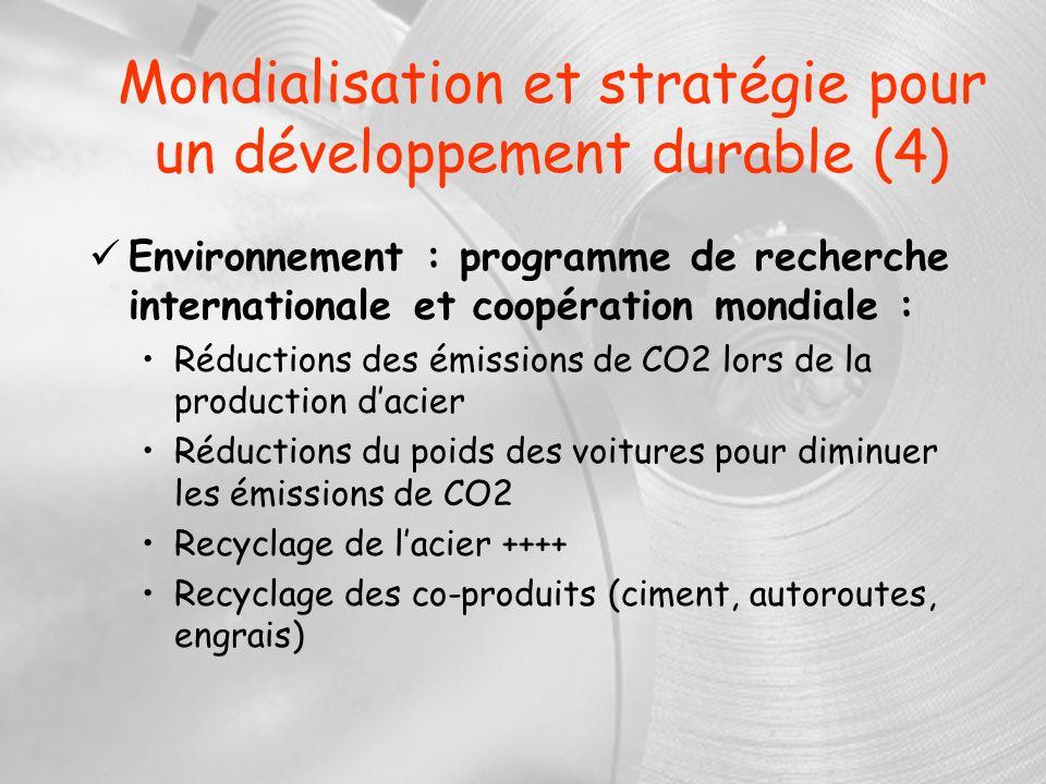 Mondialisation et stratégie pour un développement durable (4) Environnement : programme de recherche internationale et coopération mondiale : Réductio