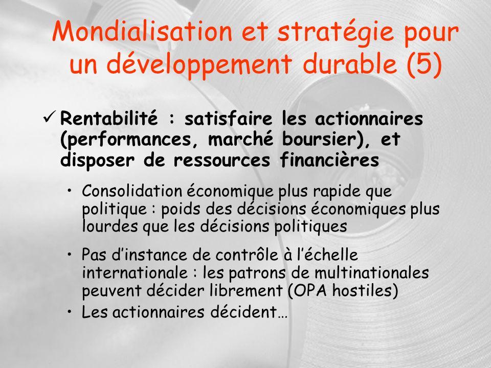 Mondialisation et stratégie pour un développement durable (5) Rentabilité : satisfaire les actionnaires (performances, marché boursier), et disposer d
