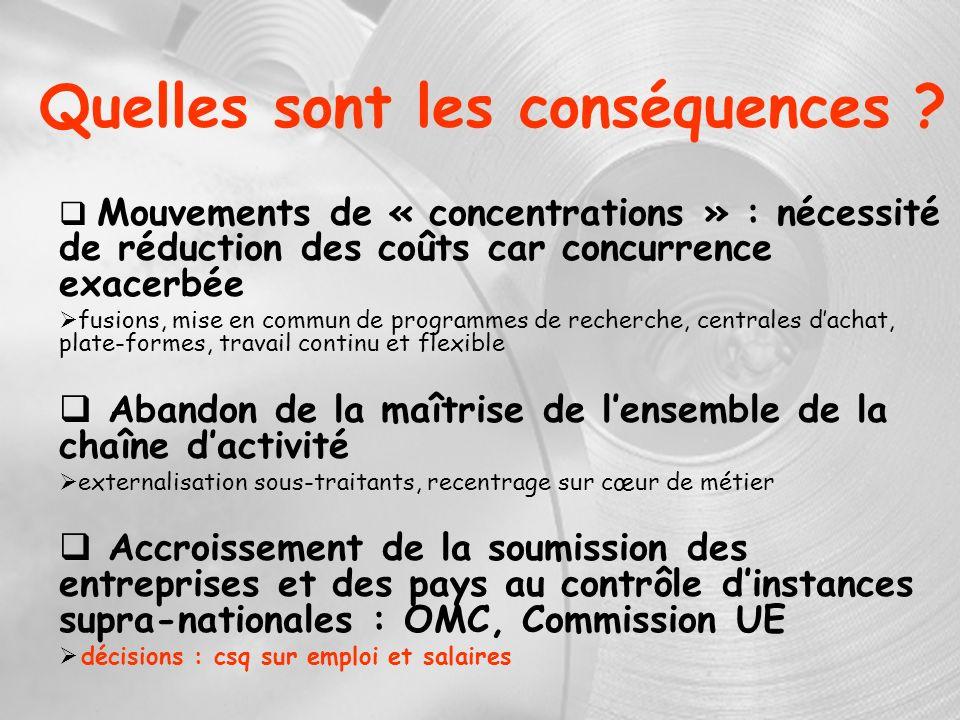 Quelles sont les conséquences ? Mouvements de « concentrations » : nécessité de réduction des coûts car concurrence exacerbée fusions, mise en commun