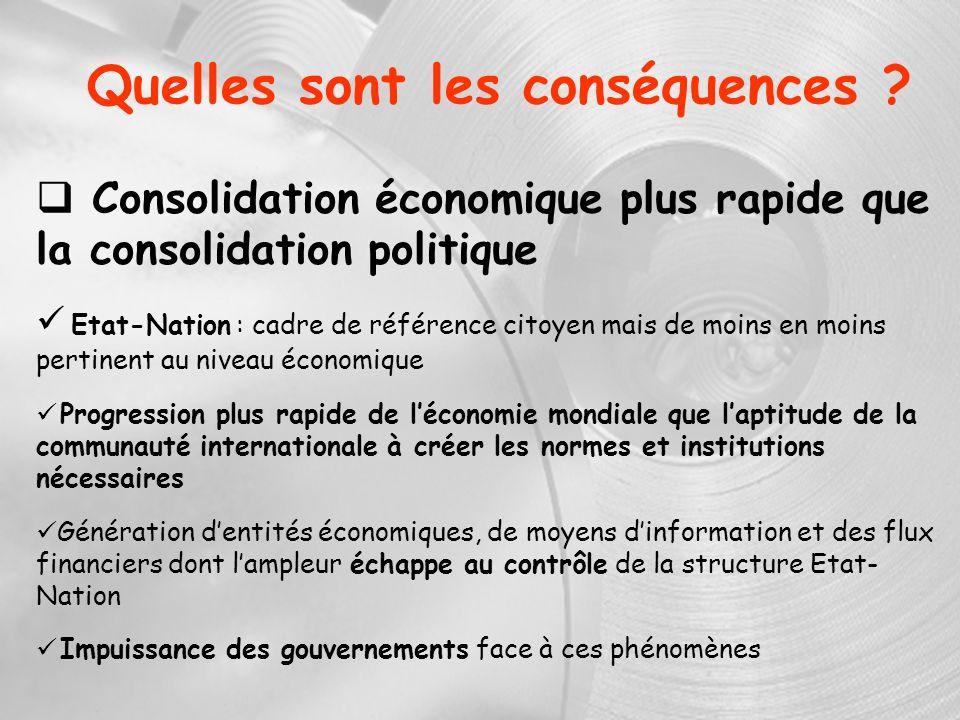 Quelles sont les conséquences ? Consolidation économique plus rapide que la consolidation politique Etat-Nation : cadre de référence citoyen mais de m