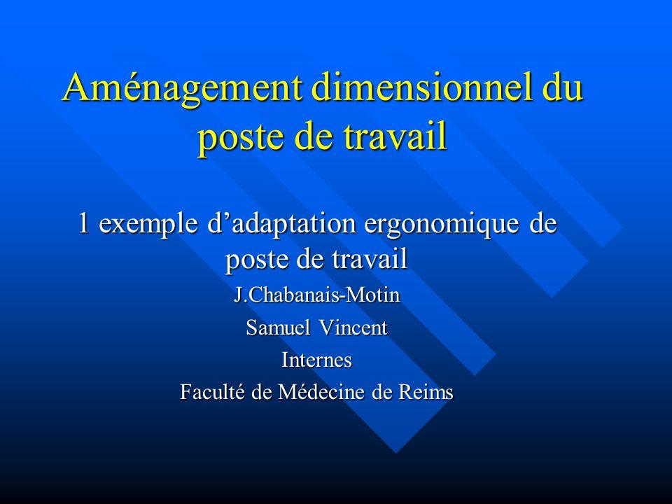 Aménagement dimensionnel du poste de travail 1 exemple dadaptation ergonomique de poste de travail J.Chabanais-Motin Samuel Vincent Internes Faculté d