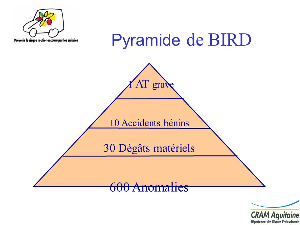 20 Pyramide de BIRD 10 Accidents bénins 30 Dégâts matériels 600 Anomalies 1 AT grave