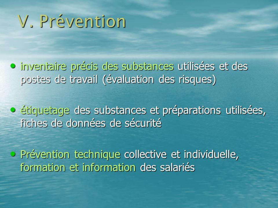 V. Prévention inventaire précis des substances utilisées et des postes de travail (évaluation des risques) inventaire précis des substances utilisées