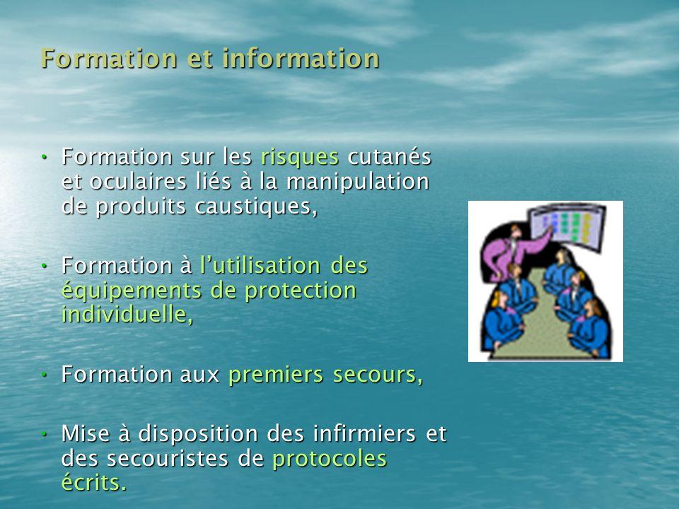 Formation et information Formation et information Formation sur les risques cutanés et oculaires liés à la manipulation de produits caustiques, Format