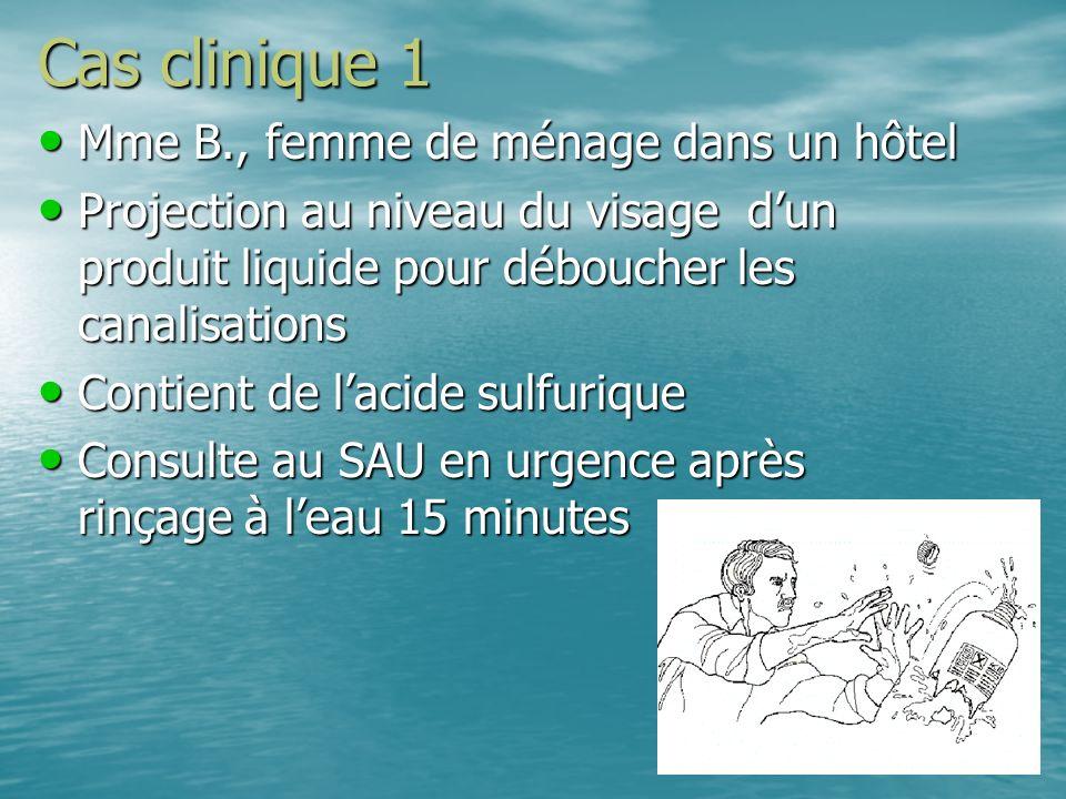 Cas clinique 1 Mme B., femme de ménage dans un hôtel Mme B., femme de ménage dans un hôtel Projection au niveau du visage dun produit liquide pour déb