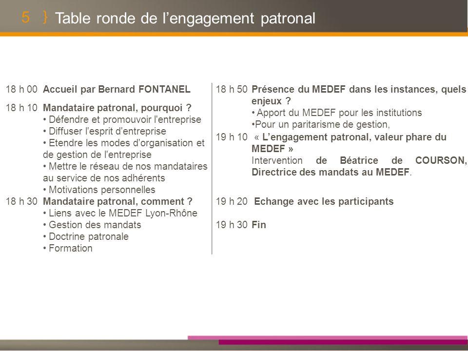 5 Table ronde de lengagement patronal 18 h 00Accueil par Bernard FONTANEL18 h 50Présence du MEDEF dans les instances, quels enjeux .