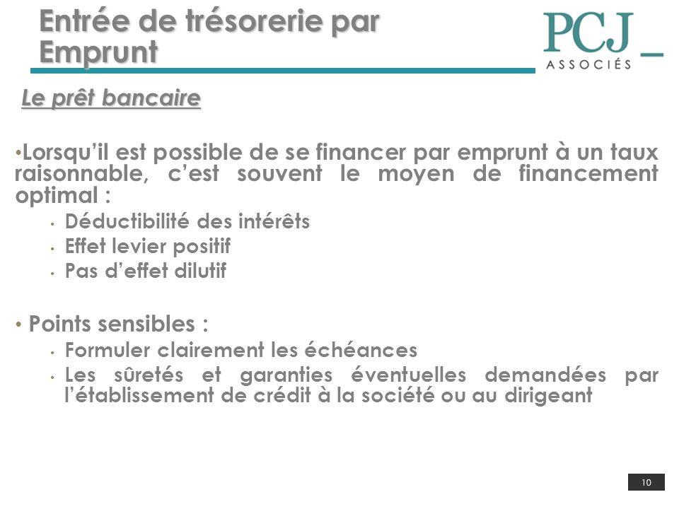 10 Entrée de trésorerie par Emprunt Le prêt bancaire Lorsquil est possible de se financer par emprunt à un taux raisonnable, cest souvent le moyen de