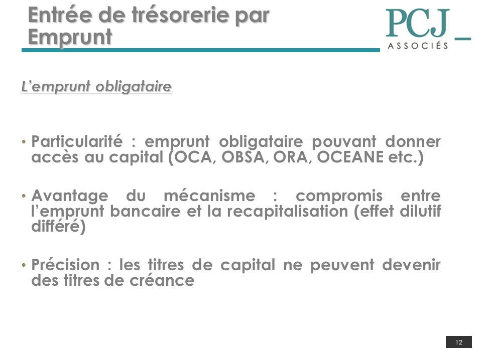 12 Entrée de trésorerie par Emprunt Lemprunt obligataire Particularité : emprunt obligataire pouvant donner accès au capital (OCA, OBSA, ORA, OCEANE e