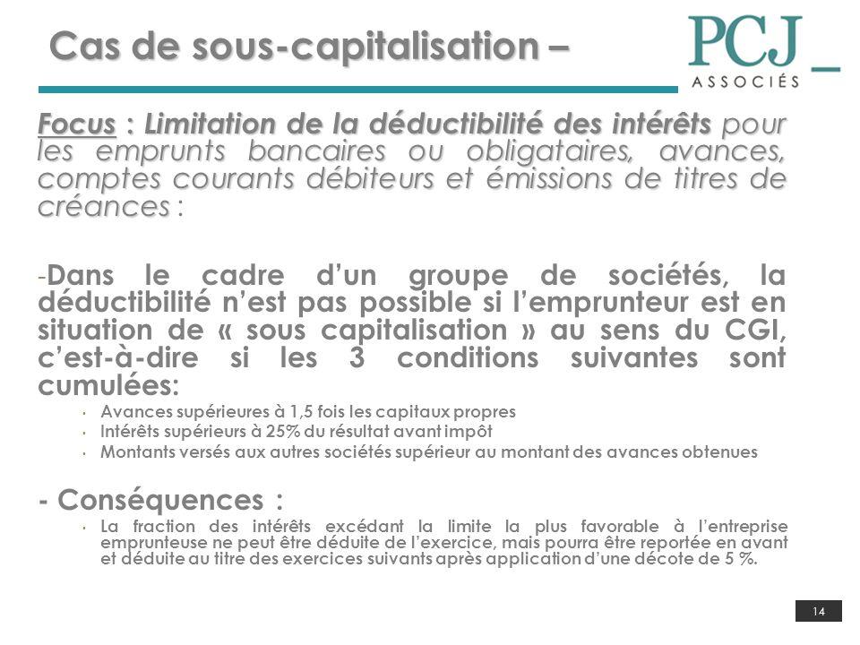 14 Cas de sous-capitalisation – Focus : Limitation de la déductibilité des intérêts pour les emprunts bancaires ou obligataires, avances, comptes cour