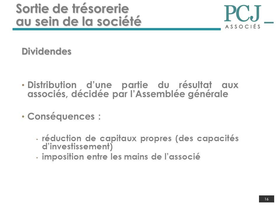 16 Sortie de trésorerie au sein de la société Dividendes Distribution dune partie du résultat aux associés, décidée par lAssemblée générale Conséquenc