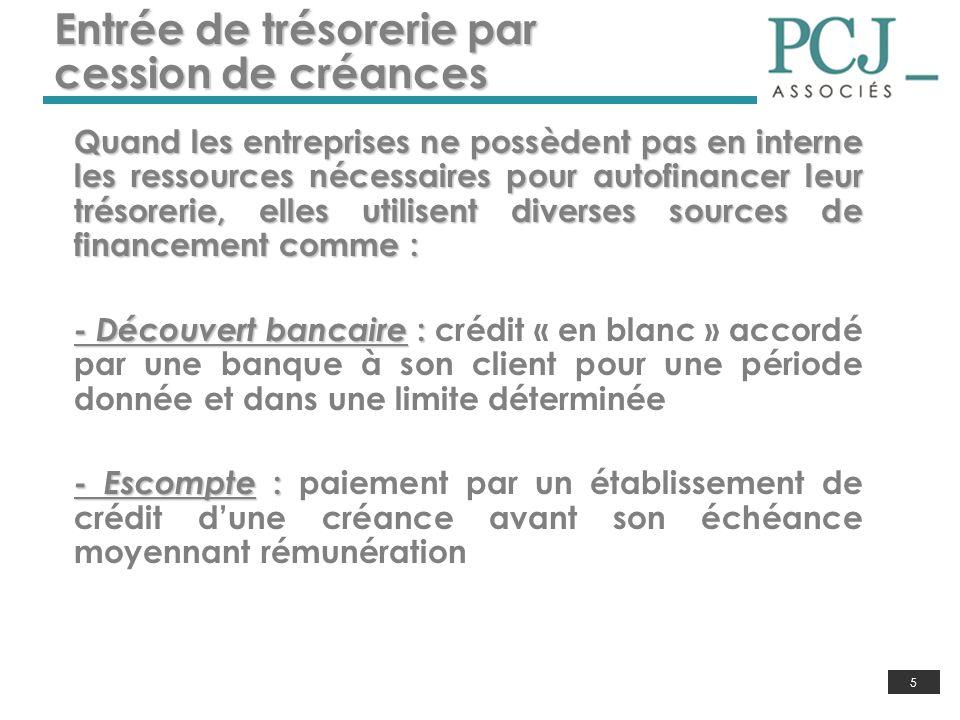 5 Entrée de trésorerie par cession de créances Quand les entreprises ne possèdent pas en interne les ressources nécessaires pour autofinancer leur tré