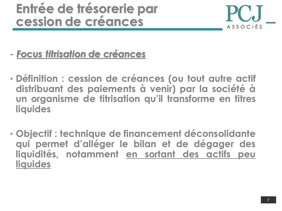 7 Entrée de trésorerie par cession de créances Focus titrisation de créances - Focus titrisation de créances Définition : cession de créances (ou tout