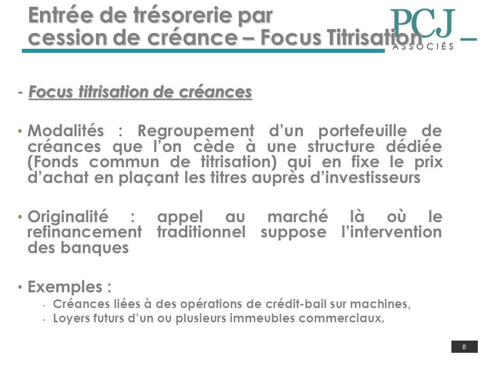 8 Entrée de trésorerie par cession de créance – Focus Titrisation Focus titrisation de créances - Focus titrisation de créances Modalités : Regroupeme