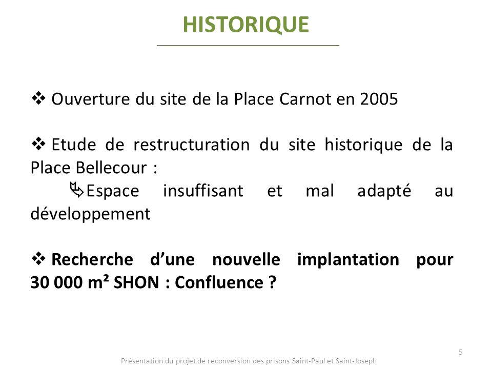 Ouverture du site de la Place Carnot en 2005 Etude de restructuration du site historique de la Place Bellecour : Espace insuffisant et mal adapté au d