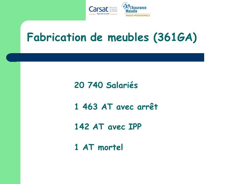 Nature des lésions Plaies (coupures)..........33,1% Douleur, lumbago..………..24,6% Contusions.....………….....13,5% Fractures, fêlures…………….5,5% Entorses.....……………...…..7,3% AT Arrêt AT IPP ….50,0%...11,3% … 4,9%...3,5%...9,8%
