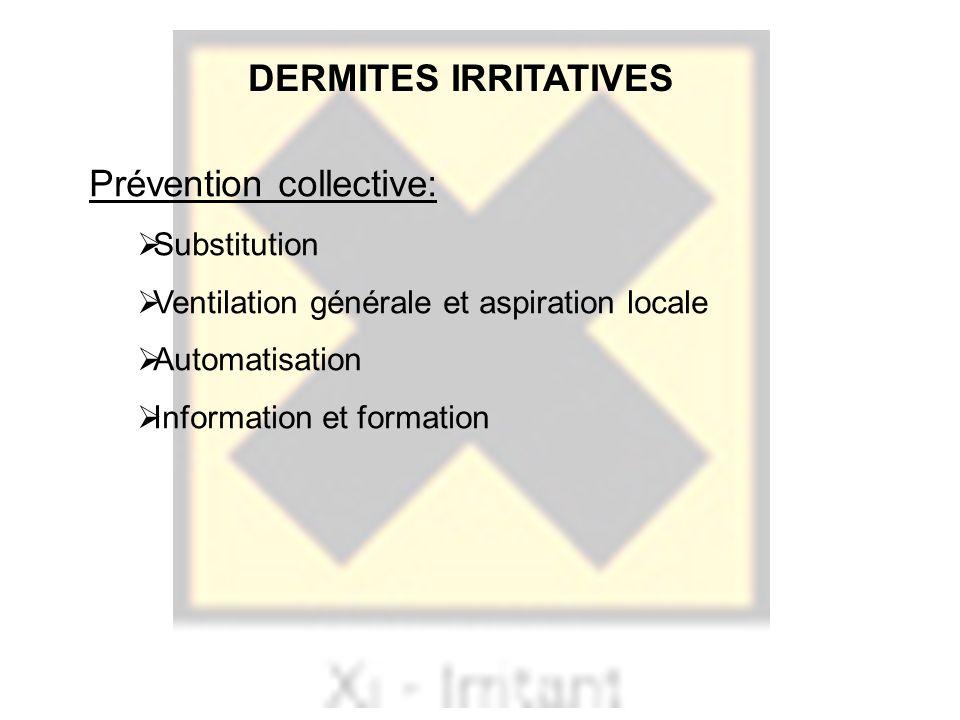 Prévention collective: Substitution Ventilation générale et aspiration locale Automatisation Information et formation DERMITES IRRITATIVES