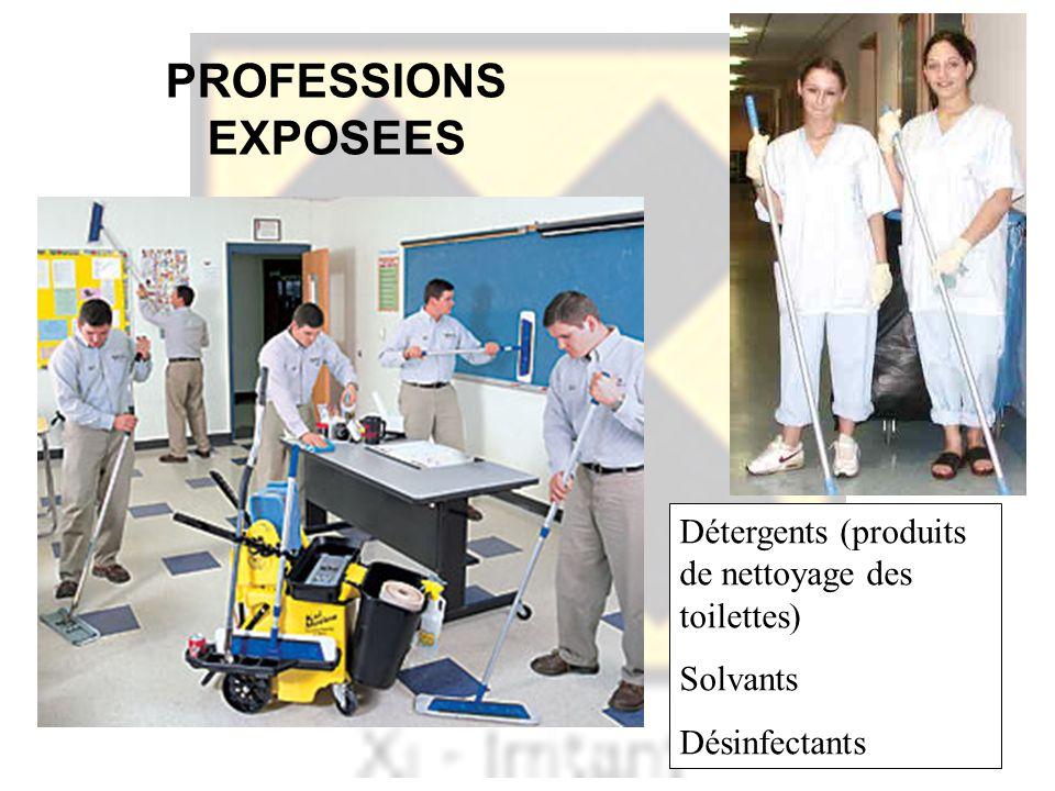 PROFESSIONS EXPOSEES Détergents (produits de nettoyage des toilettes) Solvants Désinfectants