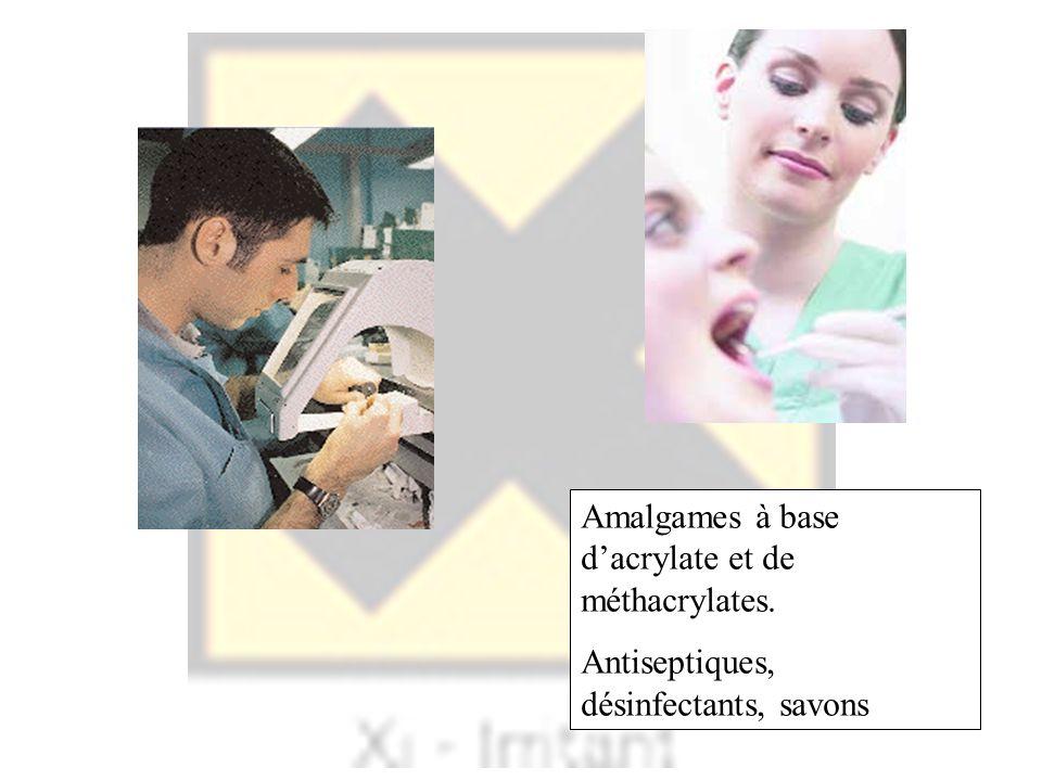 Amalgames à base dacrylate et de méthacrylates. Antiseptiques, désinfectants, savons
